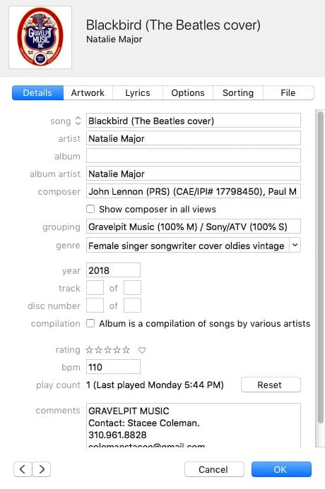 example of a song submitted with correct metadata for a cover recording