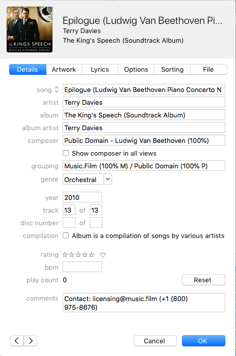 example of a song submitted with correct metadata for a recording of a public domain composition