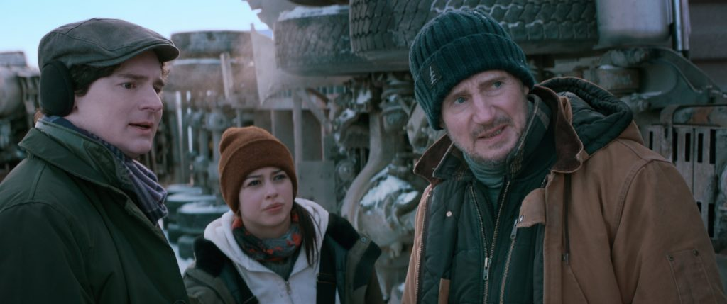Benjamin Walker, Amber Midthunder, and Liam Neeson in The Ice Road