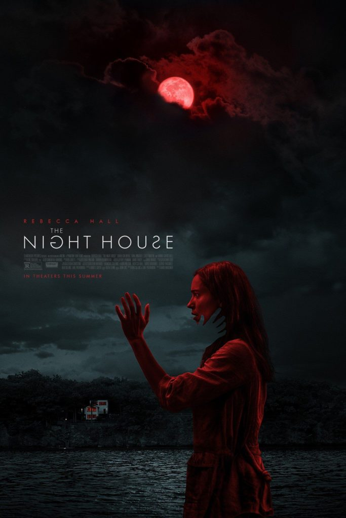 The Night House Film Poster featuring Rebecca Hall standing under red moon in the dark