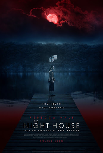 Poster for The Night House film featuring Rebecca Hall standing on a dock