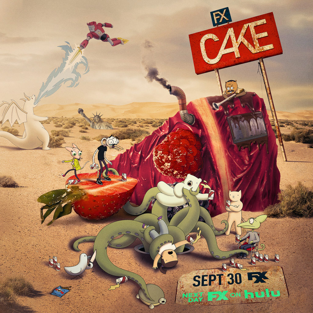 Cake Season 5 poster of different animated animals hanging out in the desert